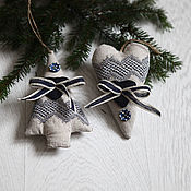 handmade. Livemaster - original item Sets of Christmas toys WINTER-2.Set 2 PCs. - Christmas tree and heart.. Handmade.