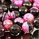 Бусины из натурального камня агата цвета фуксия с черным с кварцем кракле формы граненый шар диаметром 16 мм