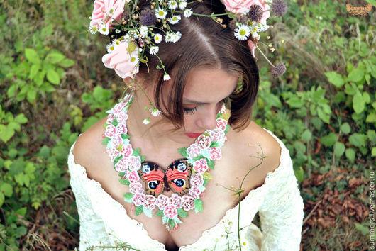 """Колье, бусы ручной работы. Ярмарка Мастеров - ручная работа. Купить Колье """"Нежность Весны"""". Handmade. Розы, свадебные аксессуары"""