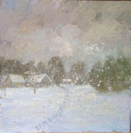 Пейзаж ручной работы. Ярмарка Мастеров - ручная работа. Купить Скоро зима..... Handmade. Комбинированный, Снег, снег идет, голубой