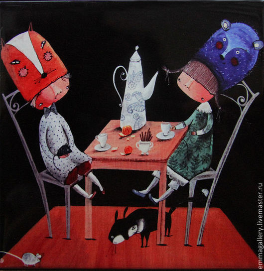 Фантазийные сюжеты ручной работы. Ярмарка Мастеров - ручная работа. Купить Кофе с корицей и мандаринами. Авторская печать.. Handmade. Черный