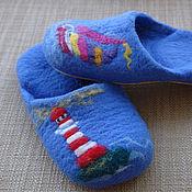 """Обувь ручной работы. Ярмарка Мастеров - ручная работа Домашние тапочки """"Море"""". Handmade."""