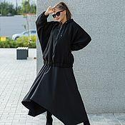 Одежда handmade. Livemaster - original item Wool jacket with a hood oversize black. Handmade.