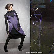 Одежда ручной работы. Ярмарка Мастеров - ручная работа ГА_026 Туника Ночной Глаз Лондона, цвет сиренево-черный,. Handmade.