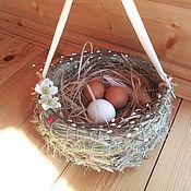 Подарки к праздникам ручной работы. Ярмарка Мастеров - ручная работа пасхальное гнездо с ручкой. Handmade.