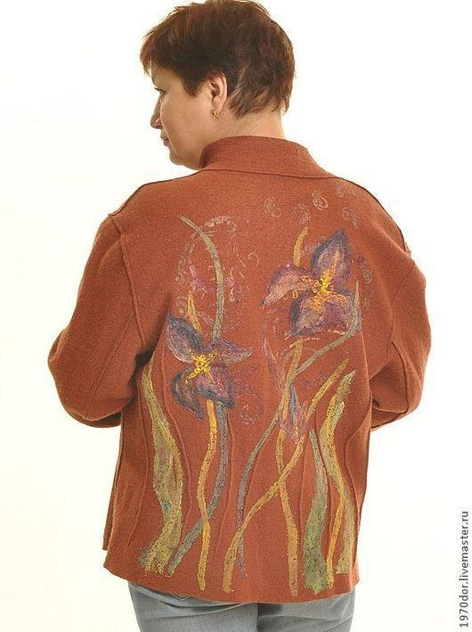 """Пиджаки, жакеты ручной работы. Ярмарка Мастеров - ручная работа. Купить Жакет из лодена """"Ирисы"""". Handmade. Коричневый, авторская одежда"""