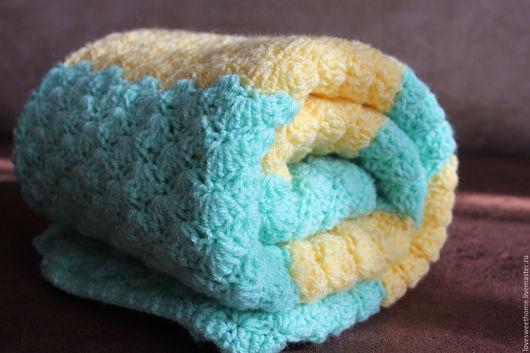 """Текстиль, ковры ручной работы. Ярмарка Мастеров - ручная работа. Купить Плед """"Мятная свежесть"""". Handmade. Комбинированный, плед для малыша"""