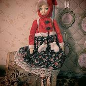 Куклы в антикварном стиле. Девочки на коньках. Винтажная зима.