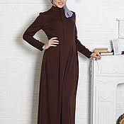 """Одежда ручной работы. Ярмарка Мастеров - ручная работа Длинное коричневое платье М-535 """"Шоколад"""". Handmade."""