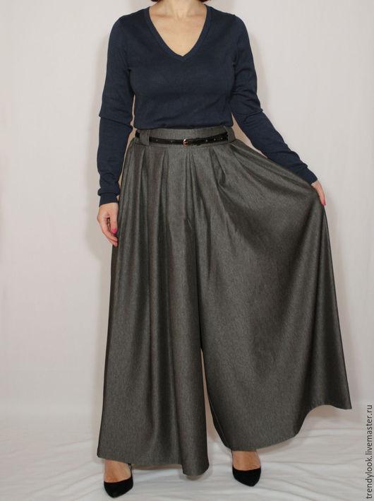 Брюки, шорты ручной работы. Ярмарка Мастеров - ручная работа. Купить РАЗМЕР 42-44 Широкие брюки-юбка, черно-серый меланж. Handmade.