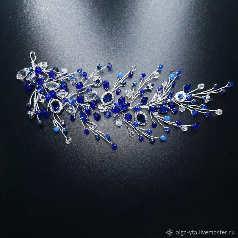 веточка синего цвета фианиты различные бусины, Украшения для причесок, Москва,  Фото №1