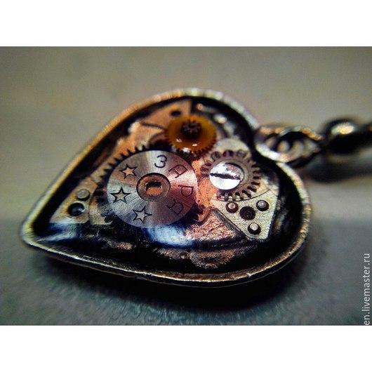 """Серьги ручной работы. Ярмарка Мастеров - ручная работа. Купить Серьги """"Сердце"""" в стиле стимпанк. Handmade. Серебряный, сердце"""