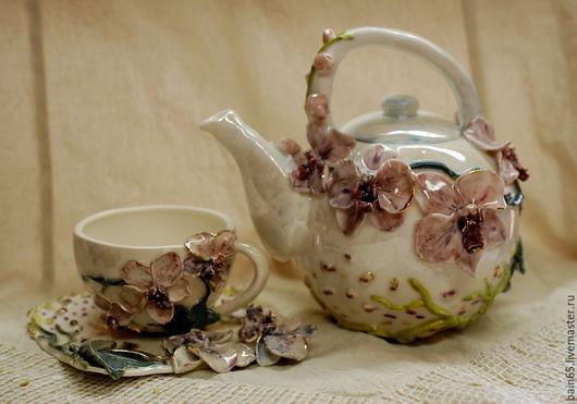 """Сервизы, чайные пары ручной работы. Ярмарка Мастеров - ручная работа. Купить Чайник и чайная пара """"Орхидеи"""". Handmade. Разноцветный"""