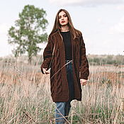Одежда handmade. Livemaster - original item cardigans: Women`s knitted cardigan oversize dark brown. Handmade.