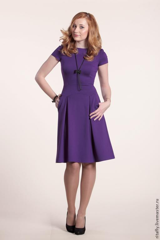 повседневное платье из джерси, офисное платье с коротким рукавом, фиолетовое платье на каждый день