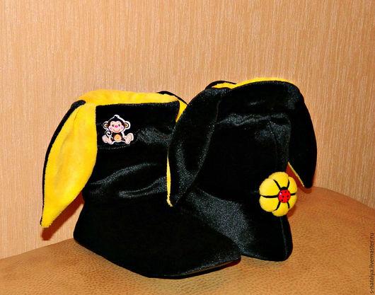 Обувь ручной работы. Ярмарка Мастеров - ручная работа. Купить Тапочки зайчики из бархата. Handmade. Комбинированный, бархат, ушки
