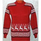 Одежда handmade. Livemaster - original item Sweater with reindeer and Norwegian ornament. Handmade.