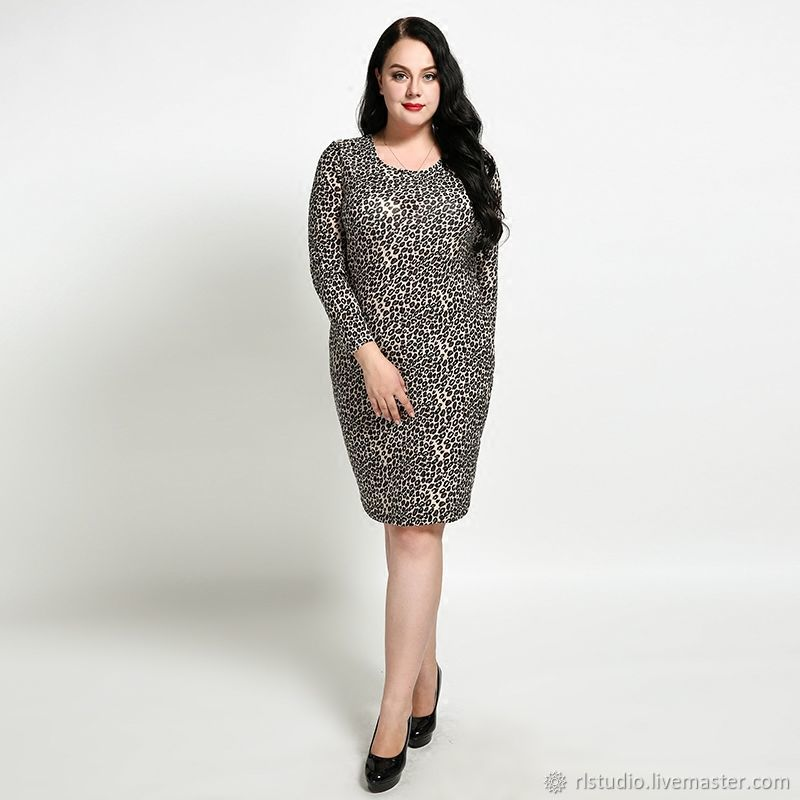 f56309f45c9 Buy Plus Size Leopard Print Long-Sleeved Dress Dresses handmade. Plus Size  Leopard Print Long-Sleeved Dress. R-L STUDIO. Online