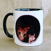"""Посуда ручной работы. Ярмарка Мастеров - ручная работа Чашка """"Кошки-мышки"""". Handmade."""