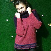 Одежда ручной работы. Ярмарка Мастеров - ручная работа Джемпер-свитер Брусничного цвета. Handmade.