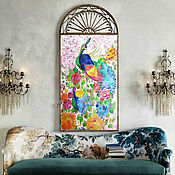 Картины и панно handmade. Livemaster - original item Bright interior painting Peacocks in the garden of Eden. Handmade.