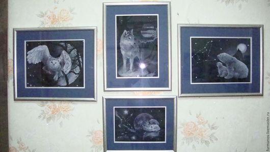 Животные ручной работы. Ярмарка Мастеров - ручная работа. Купить картина вышитая. Handmade. Чёрно-белый, коллекция, картина для интерьера