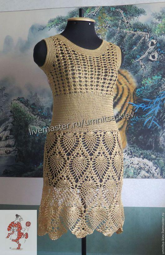 Фото. Вязаное летнее платье `Золотая рыбка` связано из итальянской вискозы. Ручная работа.