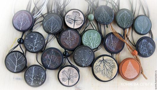 Кулоны, подвески ручной работы. Ярмарка Мастеров - ручная работа. Купить Осеннее настроение-кулоны из полимерной глины. Handmade. Разноцветный