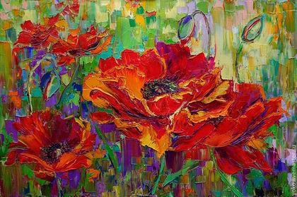 """Картины цветов ручной работы. Ярмарка Мастеров - ручная работа """"Алый Всплеск"""" - картина маслом. Handmade."""