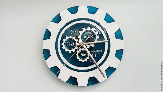Часы для дома ручной работы. Ярмарка Мастеров - ручная работа. Купить Часы настенные «Программистам». Handmade. Часы, Роспись по стеклу