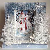 Подарки к праздникам ручной работы. Ярмарка Мастеров - ручная работа Большая Новогодняя открытка-инсталляция Мороз, Красный нос. Handmade.