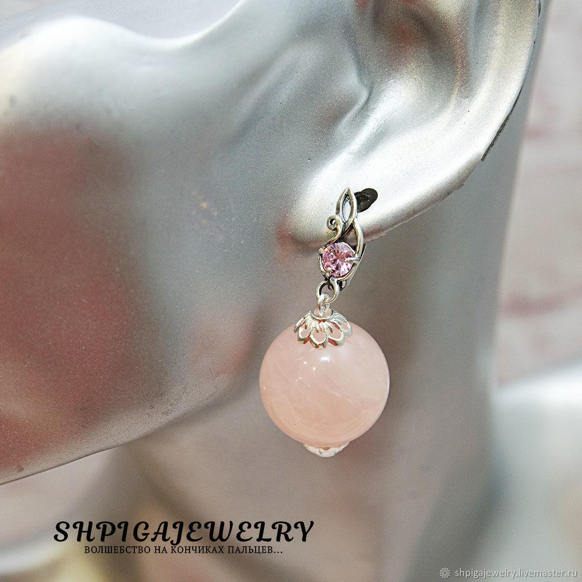 Large earrings with natural rose quartz `Imogen`