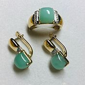 Украшения handmade. Livemaster - original item Sweet mint. Earrings and ring with chrysoprase and diamonds in gold. Handmade.