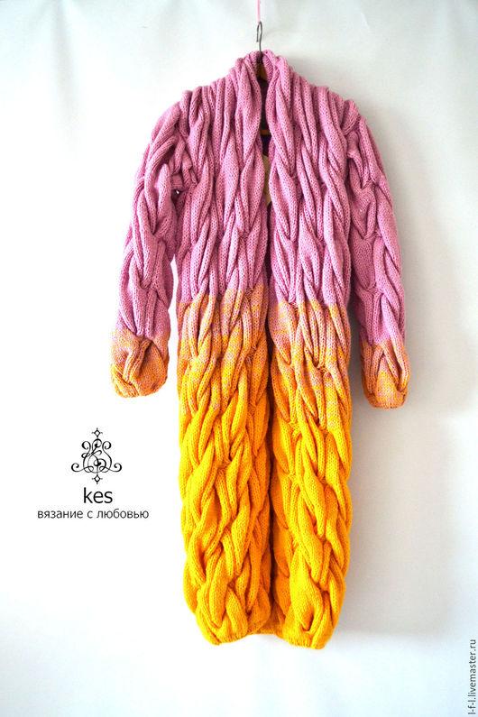 """Кофты и свитера ручной работы. Ярмарка Мастеров - ручная работа. Купить Вязаный кардиган  """"Розовый и желтый"""". Handmade. Комбинированный"""