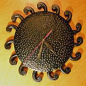 Часы классические ручной работы. Ярмарка Мастеров - ручная работа Часы кованые настенные Солнце ацтеков. Handmade.