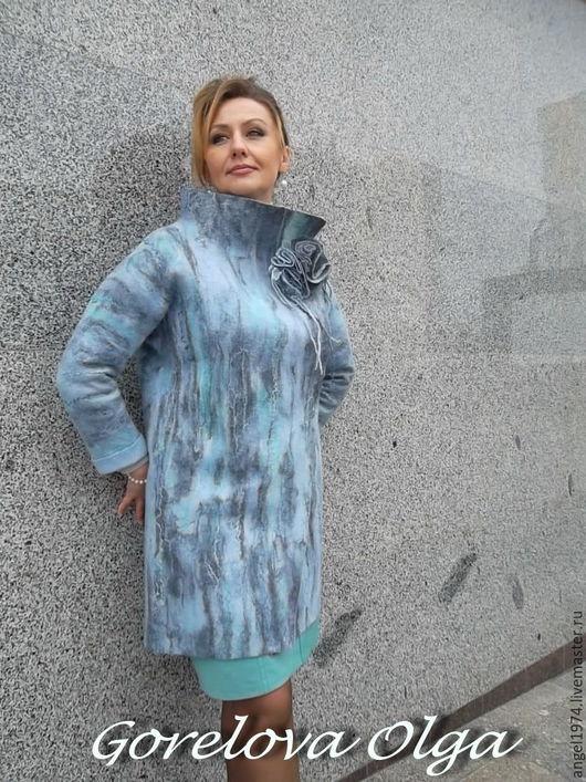 """Верхняя одежда ручной работы. Ярмарка Мастеров - ручная работа. Купить валяное пальто  """"Одри"""". Handmade. Бирюзовый, пальто из войлока"""