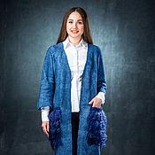 Одежда ручной работы. Ярмарка Мастеров - ручная работа Кардиган из шерсти Джинс. Handmade.