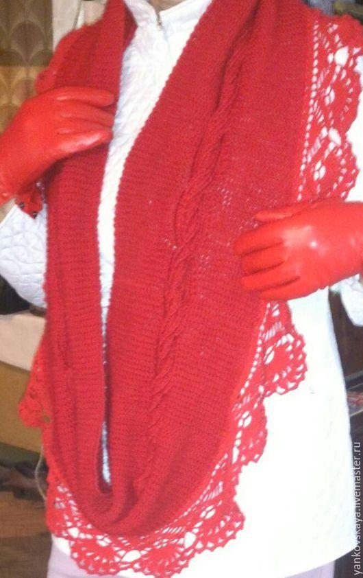 Шарфы и шарфики ручной работы. Ярмарка Мастеров - ручная работа. Купить Шарф-снуд Сирия. Handmade. Ярко-красный