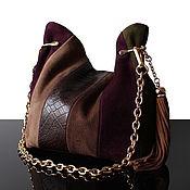 Сумки и аксессуары handmade. Livemaster - original item Suede brown handbag, olive mini bag. Handmade.