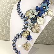 Украшения handmade. Livemaster - original item Valley Star Winds. Necklace made of lapis lazuli, flowers made of genuine leather. Handmade.