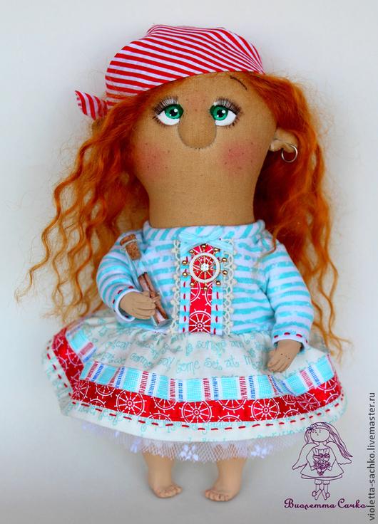 Ароматизированные куклы ручной работы. Ярмарка Мастеров - ручная работа. Купить Морская хулиганка. Handmade. Бирюзовый, пиратка, хулиган, тельняшка