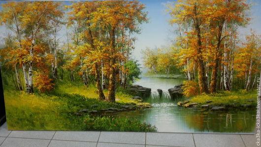 """картина """"Золотая осень""""\r\nкартина выполнена на холсте размером 180х90 масляными красками.\r\nможно заказать любой размер картины,\r\nручная работа - холст, масло."""