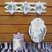"""Для дома и интерьера ручной работы. Ярмарка Мастеров - ручная работа """"Прованс.Лаванда""""часы, короб, вешалка. Handmade."""