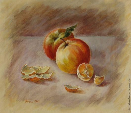 """""""Фрукты"""". Ручная работа натюрморт маслом. Картина маслом. Натюрморт с фруктами. Осенний натюрморт. картина фрукты. Мандарины."""