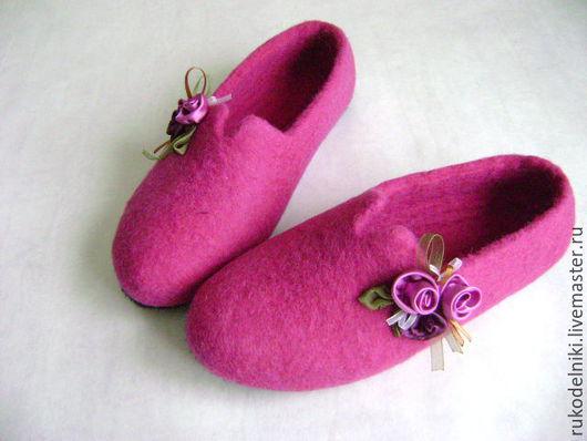 Обувь ручной работы. Ярмарка Мастеров - ручная работа. Купить тапочки Розовый букет Авторская работа. Handmade. Розовый