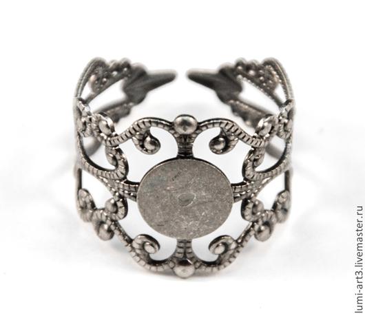Для украшений ручной работы. Ярмарка Мастеров - ручная работа. Купить Основа для кольца Античное серебро 16 мм раздвижная с филигранью. Handmade.