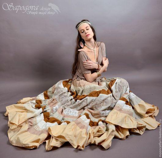 Алина Сапогова. Эксклюзивная длинная юбка -бохо , бежевая юбка с кружевом `Лирика` Фотограф Александр Сапогов.