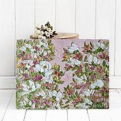 Картины и панно handmade. Livemaster - original item Pattern dusty rose color rose white green pattern with flowers. Handmade.