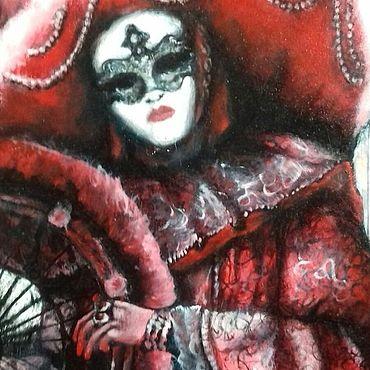 Картины и панно ручной работы. Ярмарка Мастеров - ручная работа Картина маслом венецианский маскарад. Handmade.