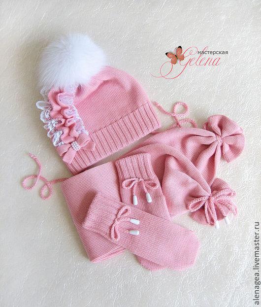 """Детские аксессуары ручной работы. Ярмарка Мастеров - ручная работа. Купить Комплект """"Розовый зефир - 2"""" (шапка, шарф, варежки). Handmade."""
